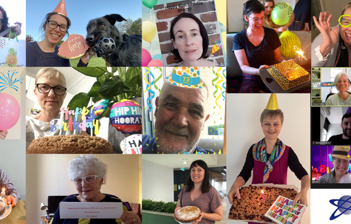 Collage of staff and students celebrating SPRC's 40th birthday