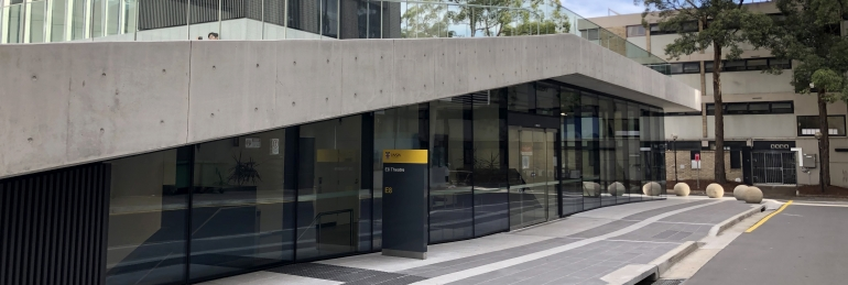 Photo of the outside entrance of the D8 Theatres building in UNSW