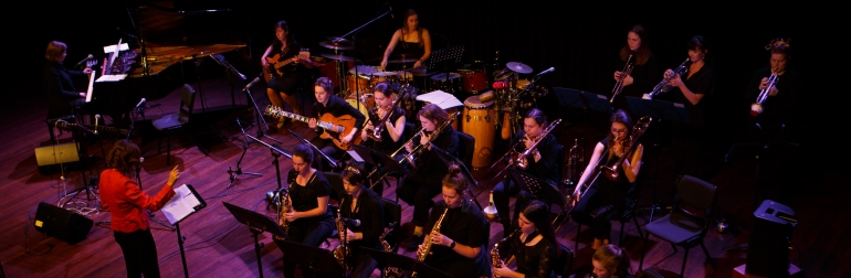 Aerial view of the Young Women's Jazz Orchestra playing