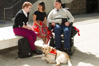 Group of three friends sitting together with a guide dog
