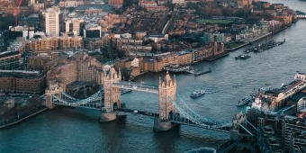 Aerial show of London Bridge and the Thames river.