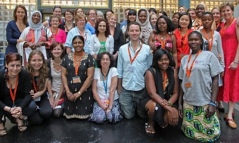 Members of Forced Migration Research Network standing in a group