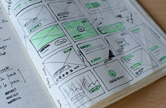 Book of advertising design and storyboarding