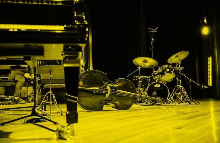 music instruments sitting on a stage