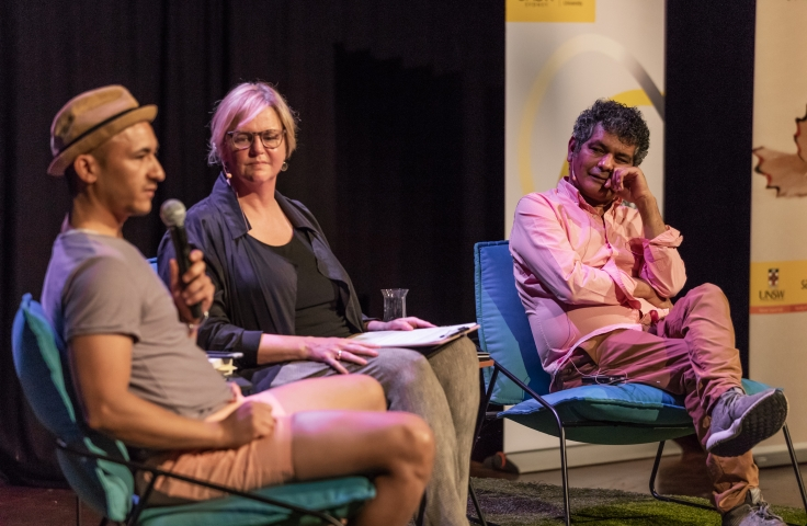 Panelists speaking at a UNSWriting event
