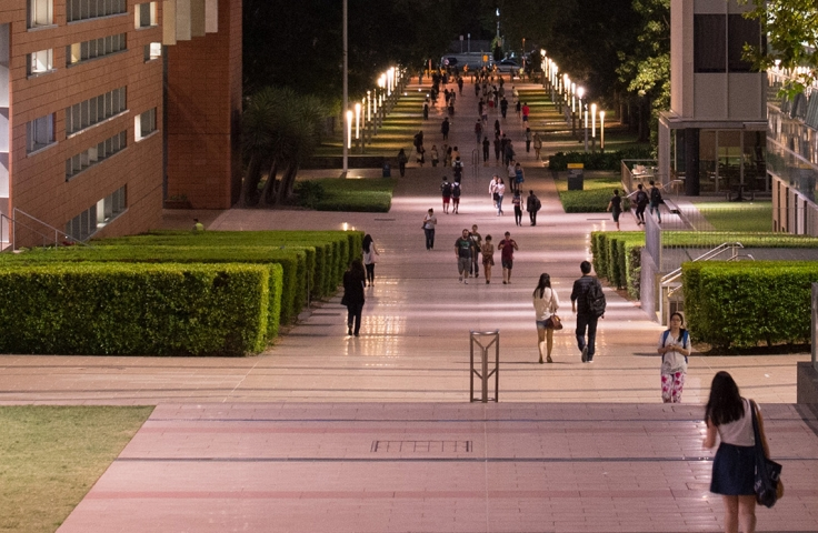 UNSW University Mall campus walkway at sunset