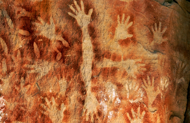 ochre rock paintings depicting hands at Carnarvon Gorge Queensland