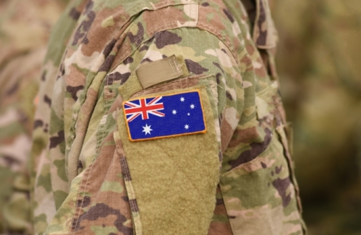 Close up of Australian flag patch on army uniform
