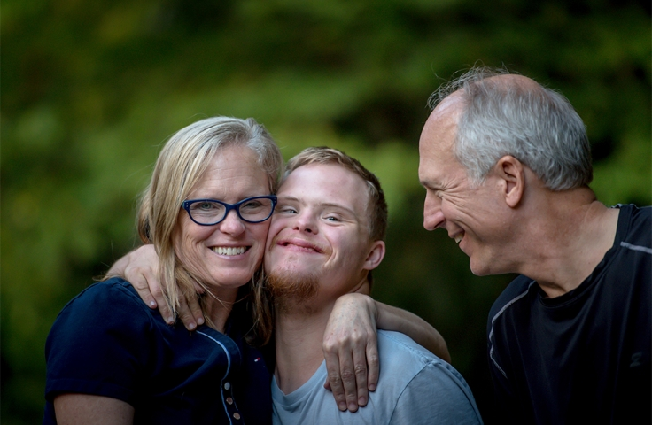 special needs student with family
